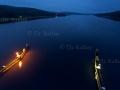 Brücke über den Glafsfjorden in der blauen Stunde