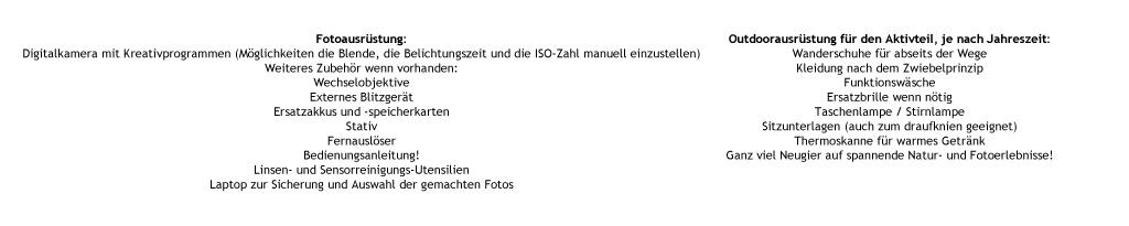 Mitzubringendes für den Fotokurs am Bodensee
