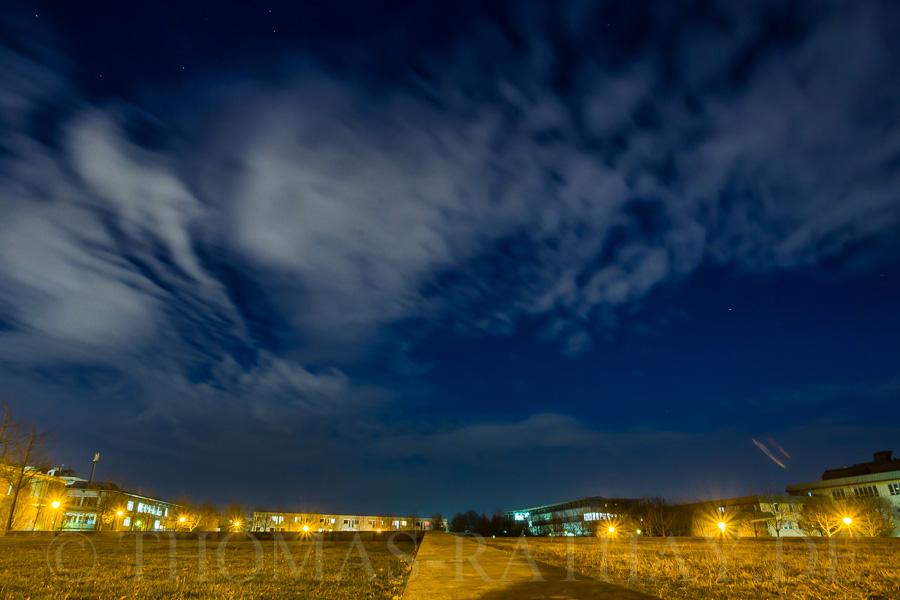 Nachthimmel über dem Unigelände in Stuttgart-Vaihingen