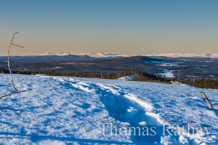 Bergpanorama Schneespuren