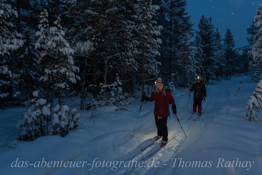 Skitour im Dunkeln.