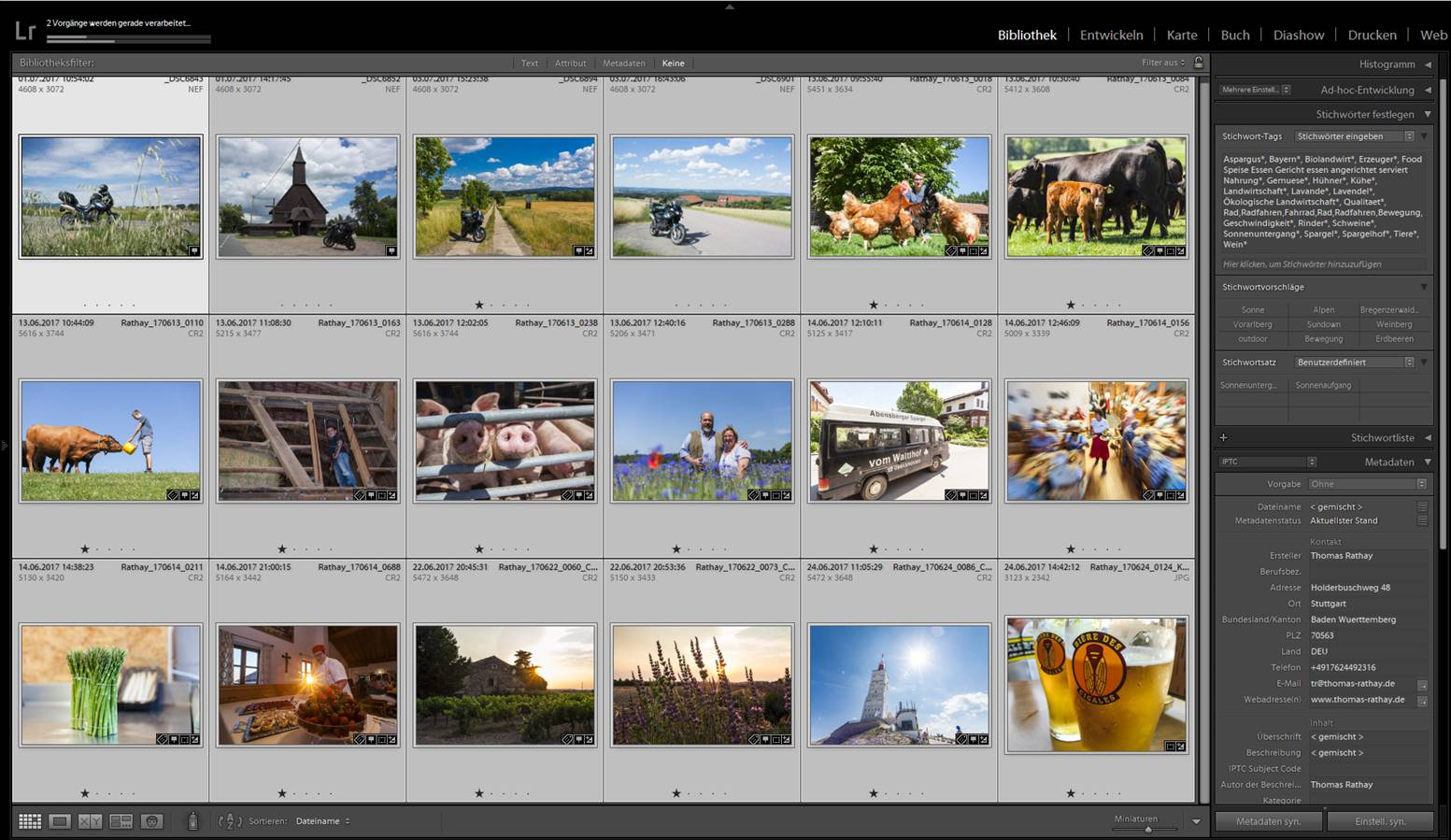 Screenshot Lightroom Projekt