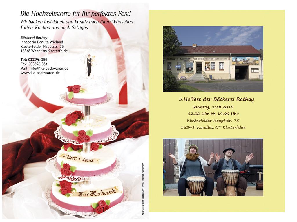 Flyer und Werbeanzeige für die Bäckerei Rathay